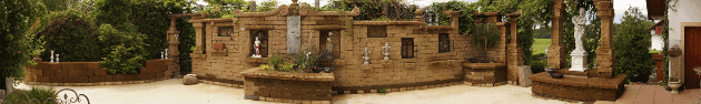 Tuff Mauersteine Gartenanlage