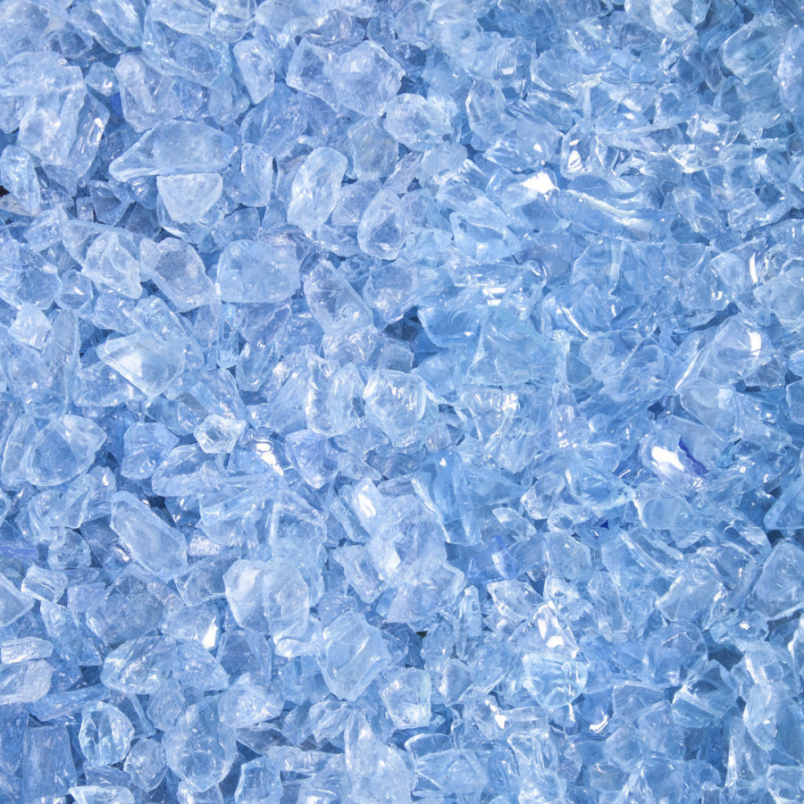 Ziersplitt Glas eislblau
