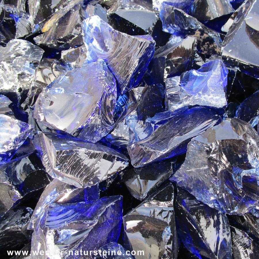 Glassteine Gabione blau
